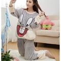 Pijama de Flanela Pijamas das mulheres Outono & Inverno Mulheres Coelho Linda Tops Calças de Manga Longa Sleepwear Pijama Quente Set