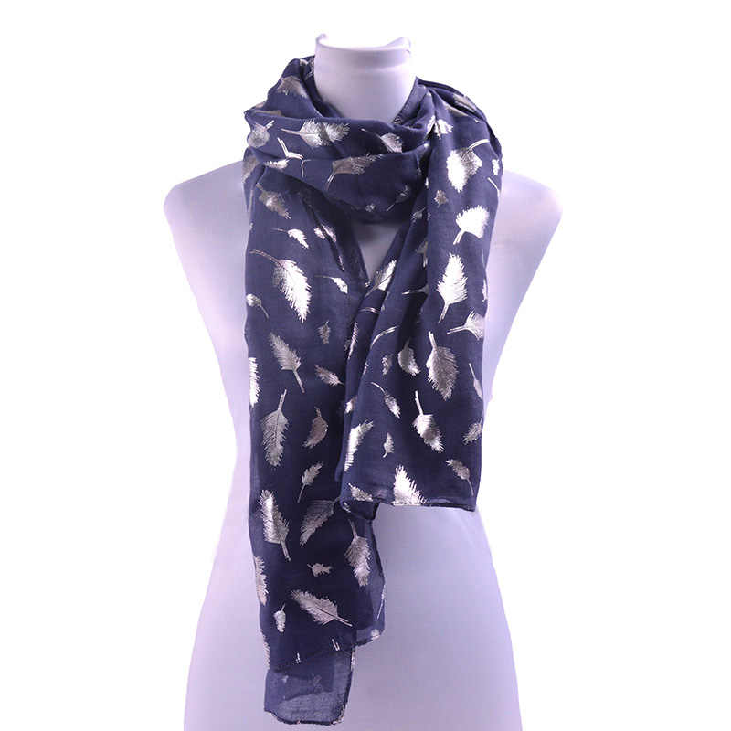 ba1656eaf Women Scarf Women Long Scarves Wrap Printed Shawl Stole Scarf Shiny  Bronzing Silver Feather Infinity Scarves