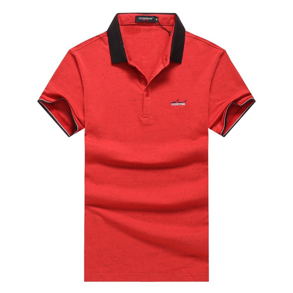 Famous Brand Tace&Shark Men's short-sleeve   polo   shirt color men casual short-sleeved lapel   polo   shirt