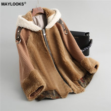MAYLOOKS autumn and winter new composite wool fur women's knitted fur coat short lamb fur collar hooded 18085