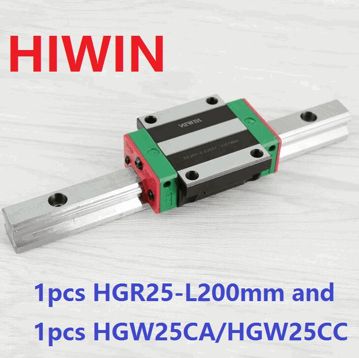 1pcs 100% original Hiwin linear guide rail HGR25 -L 200mm + 1pcs HGW25CA HGW25CC linear flange carriage block for cnc original new hiwin linear guide block carriages hg25 hgw25cch hgw25cc hgr25 for cnc parts