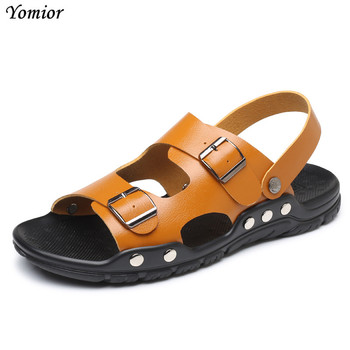 Yomior New Men's Sandals High Quality Leather Shoes Male Summer Shoes Casual Outdoor Man Beach Slippers Large Size 38-47 Sandals