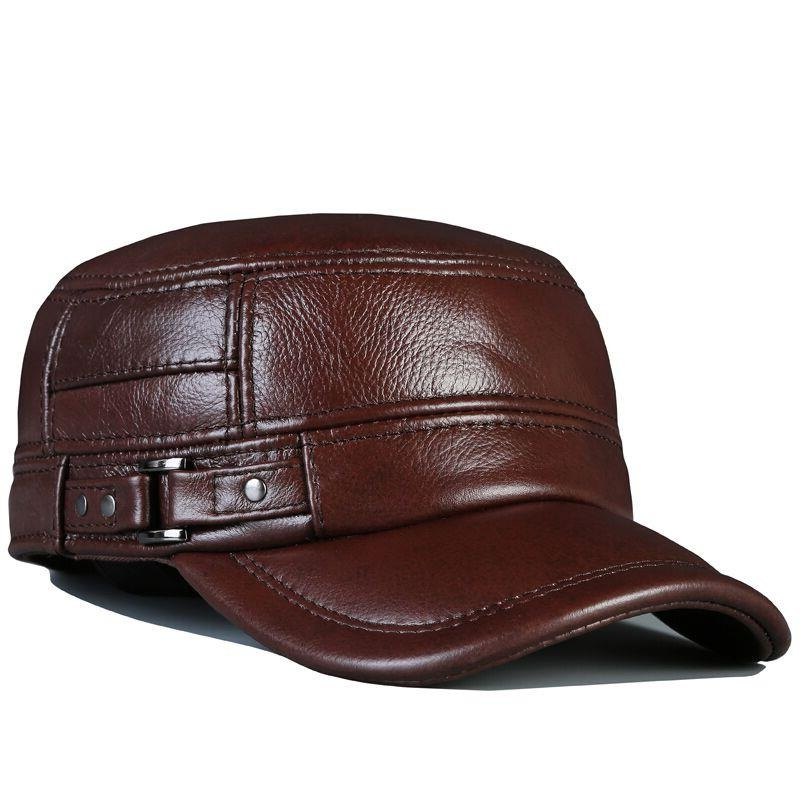 Mens genuine leather baseball cap hat brand new spring real cow beret caps hats
