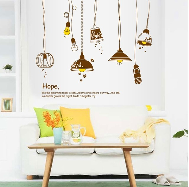 Electric light vinyl wall stickers living room kitchen decor cartoon lamps and lanterns mural decal