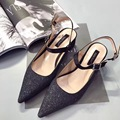 2017 New Black Silver PU Glitter Low Heel Pumps 4.5cm Pointed Toe Ankle Strap Zapatos Mujer Tacon Escarpins Femme Bridal Shoes