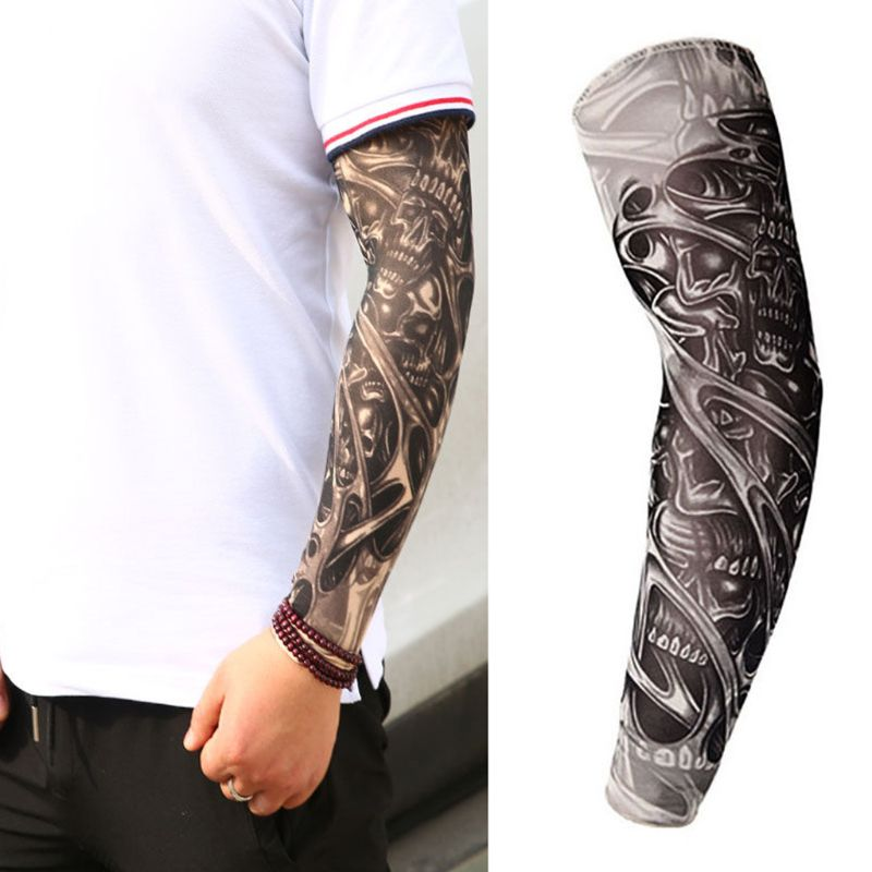 Mens Fake Tattoo Sleeves Cover Unisex Party Body Art Temporary Sunscreen Tiger Skull Clown Digital Printing Arm Warmer Protector