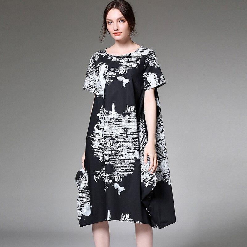 Été coton robe femmes grande taille 2019 femme irrégulière lettre lâche décontracté élégant fête Boho robes surdimensionné dame robe