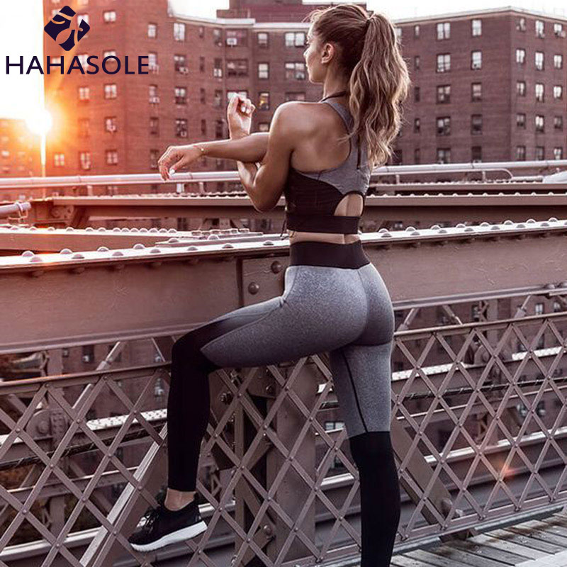 Sportswear For Women Backless Sportswear Fitness Suit Running Elasticity Patchwork Yoga Sets Tracksuit For Women KWP0059-5