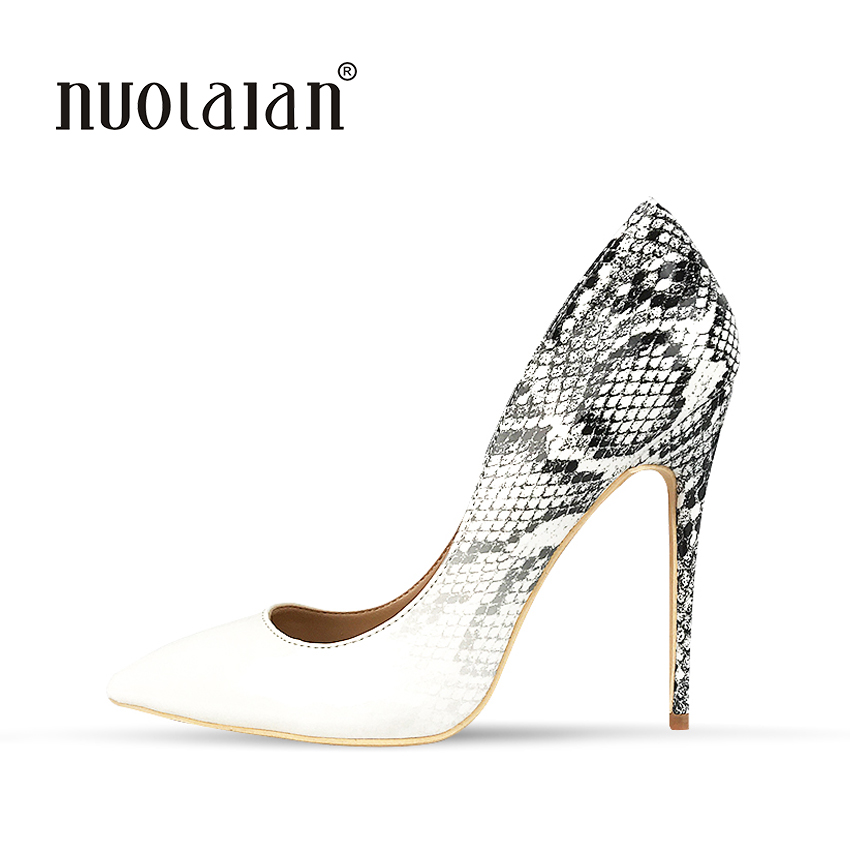 2018 New Brand Sexy Women Pumps Snake Printed High Heels Pointed Toe High Heel Party Dress Shoes Woman Size 35-42 zapatos mujer туфли на высоком каблуке 2015 toe zapatos de 35 40 41 42 high heels