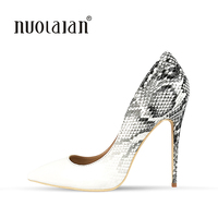 2018 New Brand Sexy Women Pumps Snake Printed High Heels Pointed Toe High Heel Party Dress Shoes Woman Size 35 42 zapatos mujer