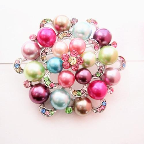 Серебряный тон искусственный жемчуг и горный хрусталь с бриллиантами, кристалами для свадьбы брошь с букетом - Окраска металла: Multicolored
