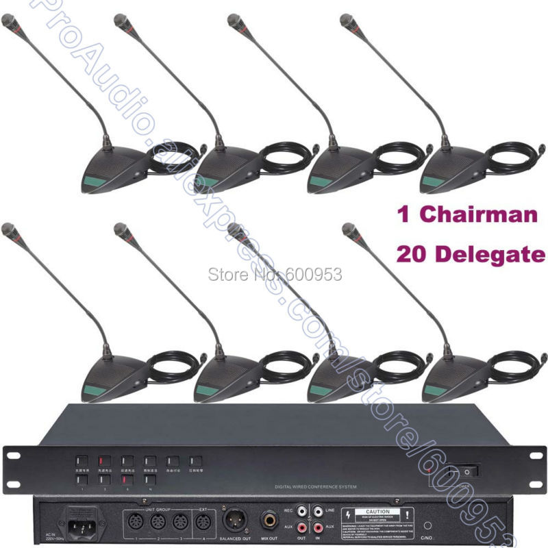MICWL-D20 Pro Wired Meeting Conference Microphone System 21 Table Gooseneck Mic 1 Chairman 20 Delegate Unit micwl d400 uhf 4 gooseneck table uhf wireless conference microphones digital system for big meeting room