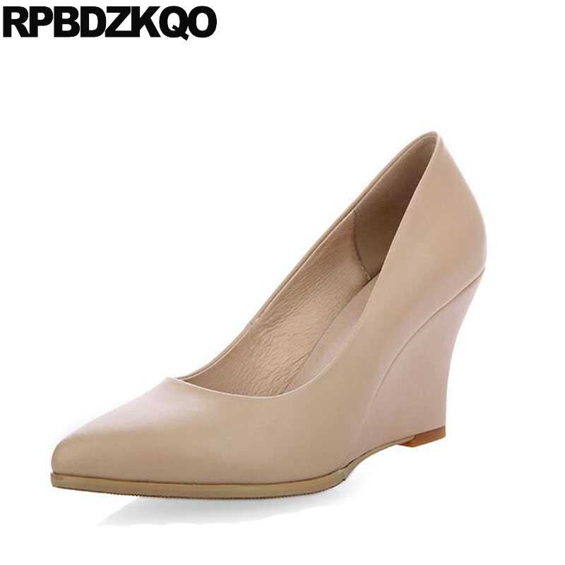 3b26c16beb9 size 33 pointed toe work black formal women high heels pumps 2018 white  wedge shoes nude