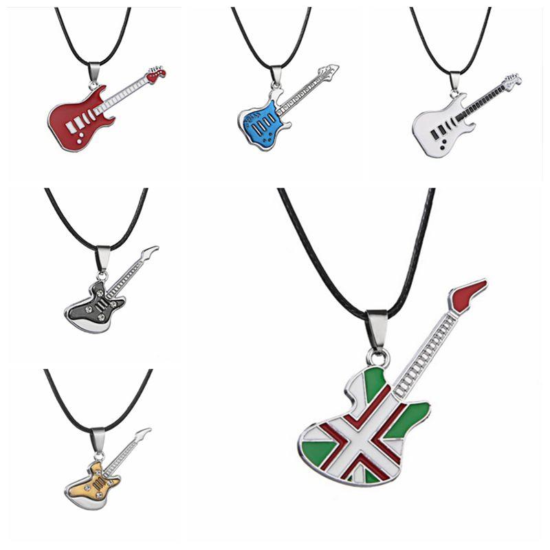 Clever Mode Edelstahl Gitarre Halskette Anhänger Schmuck Zubehör Pop Musik Festival Choker Halskette