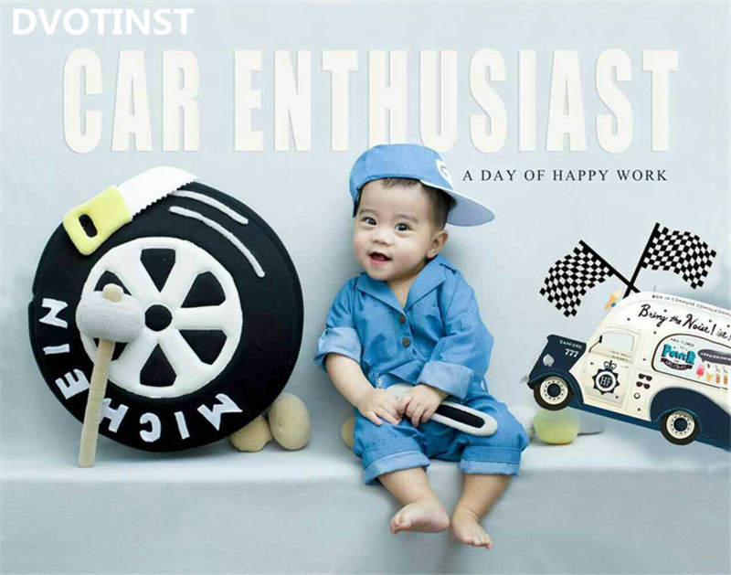 Dvotinst Baby Photography Props Wheel Car Repair Theme Clothes Background Set Fotografia Accessory Studio Shoot Photo Props