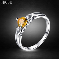 JROSE New Fashion Engagement Citrine 18K White Gold Plated Ring Size 6 7 8 9 10 Free Shipping Heart Cut Jewelry Wholesale Gift