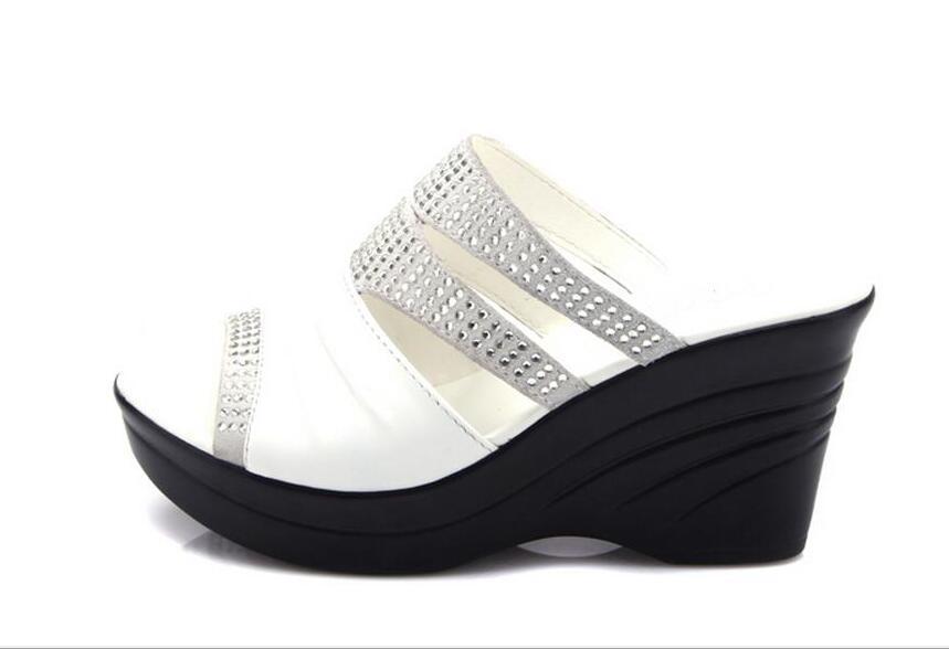 Zapatillas naranja Marca 964 Boca De Sandalias Mamá Los 2018 Cuñas Negro Zapatos Moda blanco Vaca Mujer Rhinestones Pescados aSSYgw