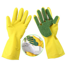 1Pair Home Garden Kitchen Dish Washing Cleaning Glove Sponge Fingers Rubber Household Gloves for Dishwashing