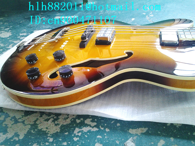 new  hollow electric guitar with Ultra-thin mahogany body in sunburst made in China+foam box+free shipping F-1758  цены онлайн