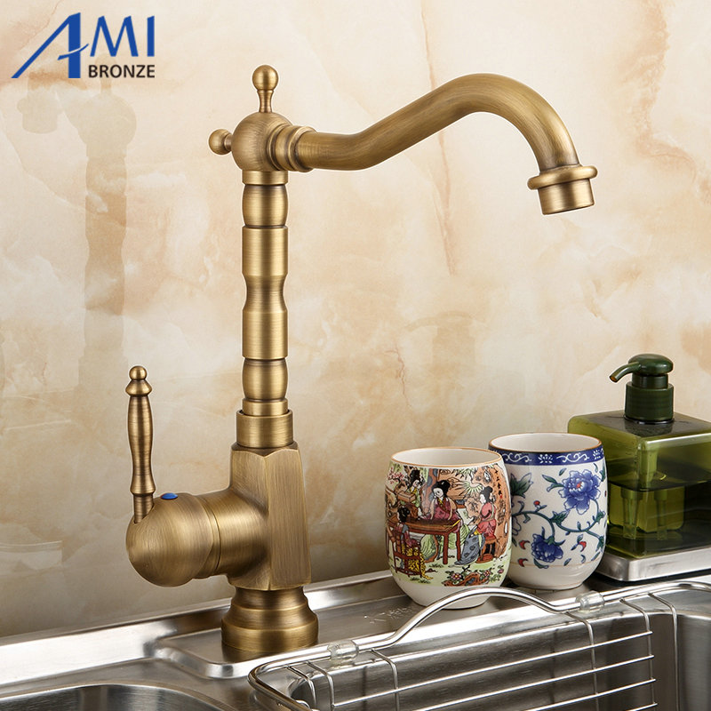 Amibronze Home Improvement Accessories Antique Brass Kitchen Faucet 360 Swivel  Bathroom Basin Sink Mixer Tap Crane