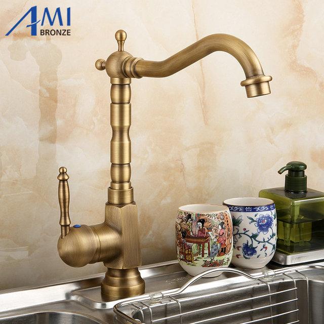 US $32.99 49% OFF Amibronze Home Improvement Accessories Antique Brass  Kitchen Faucet 360 Swivel Bathroom Basin Sink Mixer Tap Crane -in Kitchen  ...