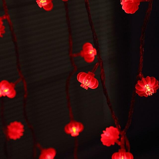 Us 16 19 19 Off Yiyang 220 V 110 V Kerstmis Lente Festival Bruiloft Decoratie Touw Lampen Traditionele Chinese Rode Lantaarn Veranda Led String