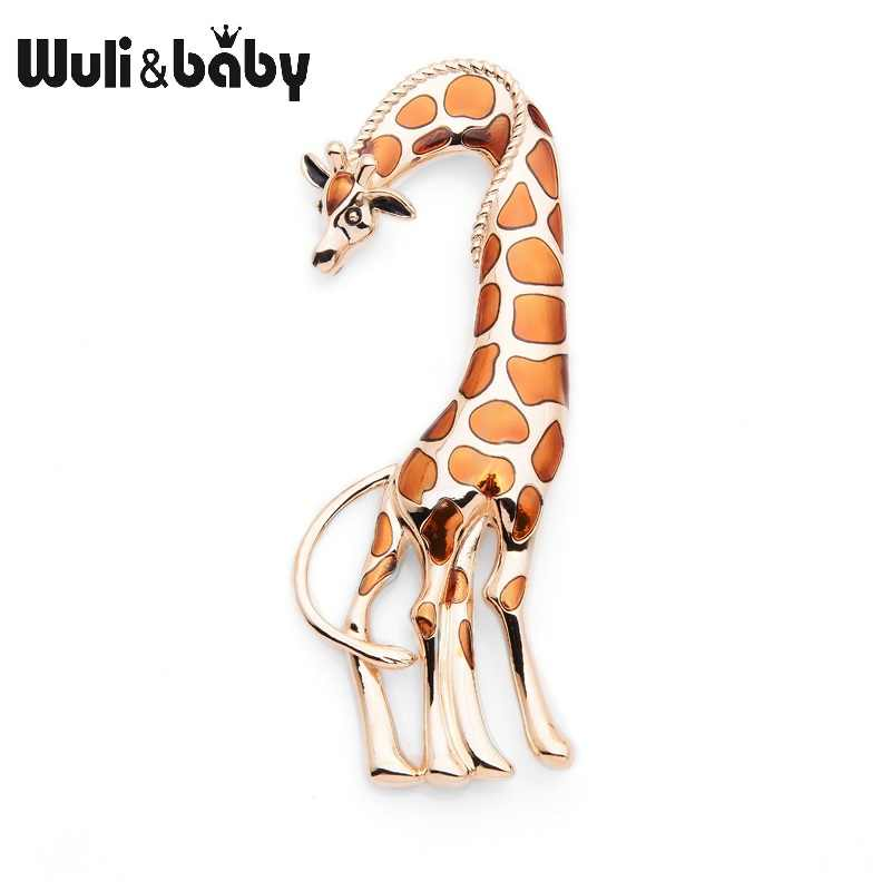 Wuli&Baby 2019 Big Brown Enamel Giraffe Brooches Women Men's Metal Animal Banquet Party Brooch Pins
