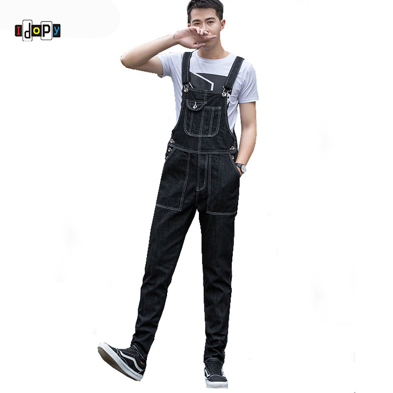 цены Idopy Men`s Denim Overalls Men's Plus Size Denim Bib Overalls All match Pockets Cargo Jeans Suspenders Jumpsuit For Men