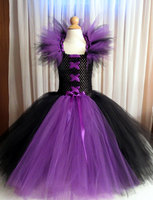 Maleficent Tutu Dress for Girls Halloween Party Photo Shoot, Costume, Pageant, Halloween, Birthday, Gift, Purple, Black