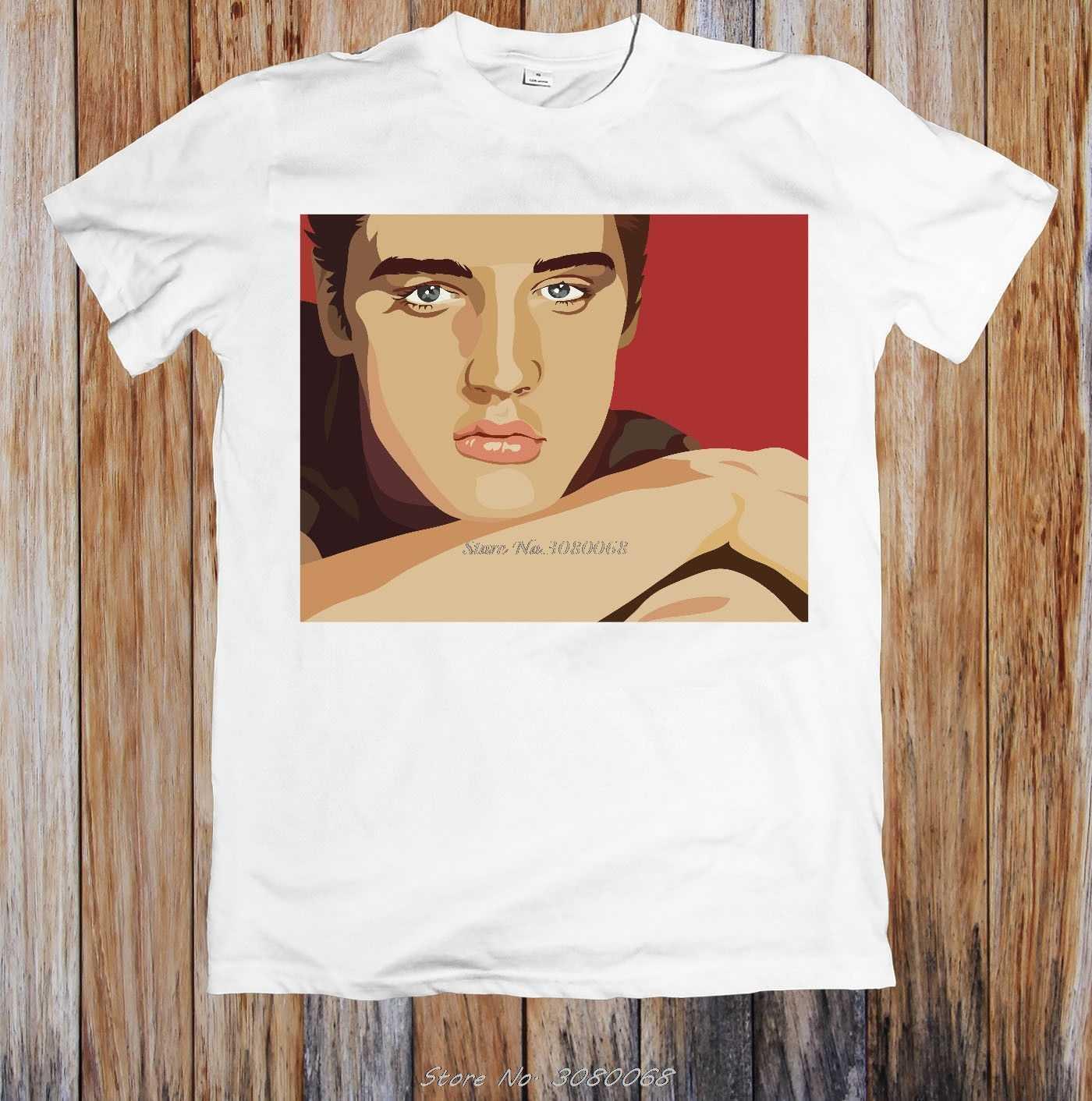 Camiseta Unisex con retrato de Elvis Presley, camiseta de orgullo para hombre, camiseta negra blanca, traje, sombrero, camiseta rosa, Camiseta clásica Retro