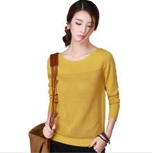 2017 New Srping Summer slash-neck with hollow cute Pullover sweater Jumpers long-sleeve loose slit basic yellow women