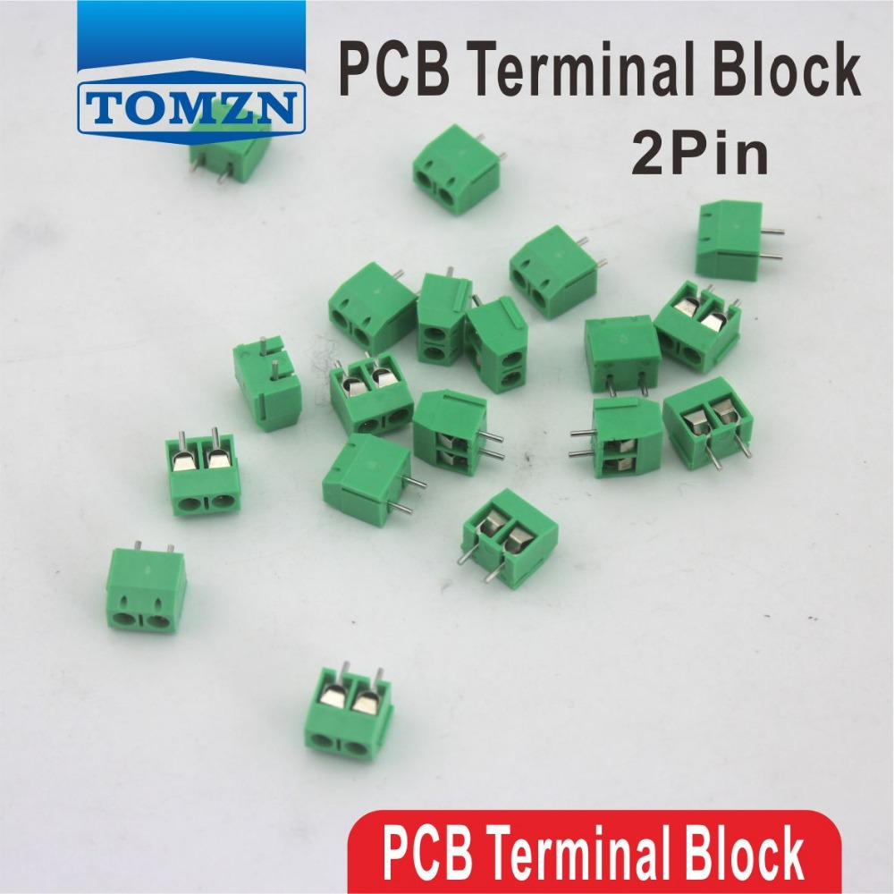 100 pcs 2 Pin Screw Green PCB Terminal Block Connector 5mm Pitch холодильник shivaki sdr 054s