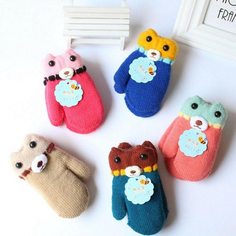 Winter Warm Toddlers Boy Girls Kids Thick Fur Gloves Neck String Mittens Cartoon Pattern
