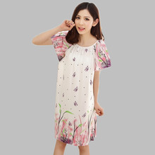 Loose Plus Size Nightgowns For Women Long Cartoon Girls Nightshirts Nightdress Cotton And Silk Sleepshirt Summer Dressing Gowns