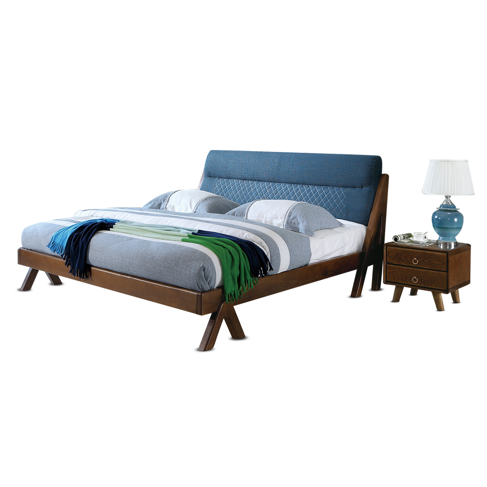 1128H301D Modern Fashion Ash solid wood king size soft bed-rest  stable with Ranked skeleton bed frame раскладушка therm a rest therm a rest luxurylite mesh xl