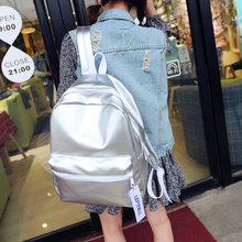 Women Silver Backpack Glossy Backpacks For Teenage Girls Holographic PU Leather Bag Pink Students School Rucksack QIGER