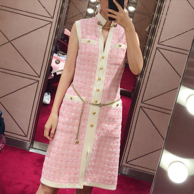 Svoryxiu Spring Summer Runway Custom Sweet Pink Dress Women s High Quality Waist Chain Slim Sleeveless