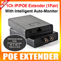 Ethernet 1CH IP Video PoE ToCoax Media Converter Extender Long Distance Power Coax,Max Up to 2500m,With Auto-monitor,A Pair Sale