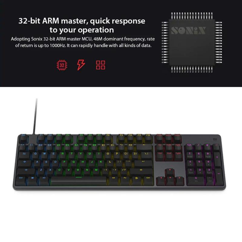 Image 5 - Xiaomi RGB Backlight 104Keys USB Wired Gaming Keyboard for PC Laptop Desktop high quility Xiaomi Keyboard for gaming working new-in Keyboards from Computer & Office