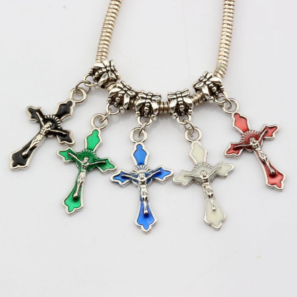 Dangling Cross Bracelet: Hot Sell ! 100pcs Mix Color Enamel Cross Charm Dangle Bead