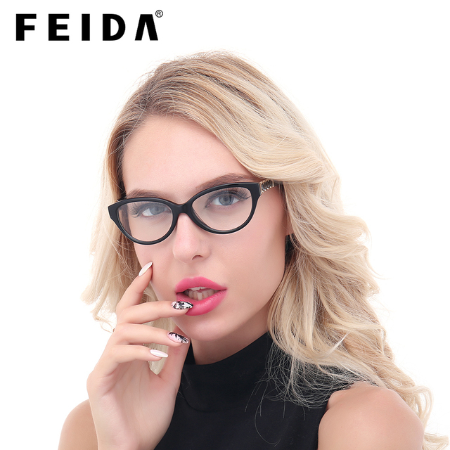 72b7b968ce FEIDA Women s Frame Degree Eyeglasses Vintage Cat s Eye Transparent Glasses  for Women Fashionable Ordinary Fake Designer Frames