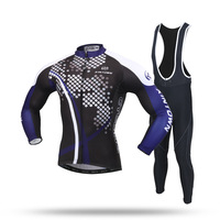 New Long Sleeve Cycling Sets Black Purple Anti Sweat Jersey And GEL Pad Bib Pants Bike