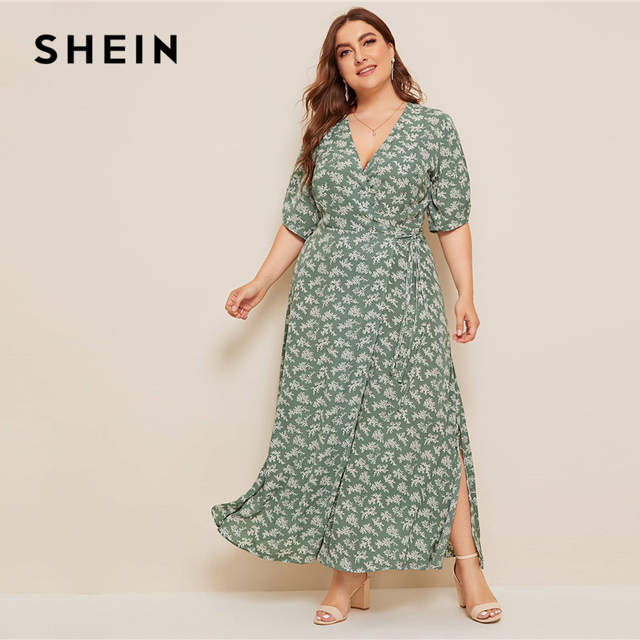 SHEIN Plus Size Ditsy Floral Knot Side Wrap Maxi Dress Women Summer Autumn Half Sleeve V Neck Fit and Flare Boho Empire Dresses 4