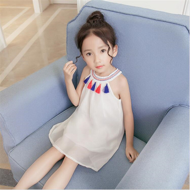 fd65b5f1d Girls Dress Baby Tassel Princess Kids Summer A line Beach Boho ...