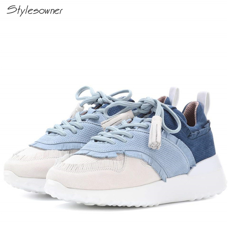 Stylesowner Name Brand Design Lace Up Platform Casual Sneakers Real Leathe Patchwork Tassel Sneakers Hot Fashion Platform ShoesStylesowner Name Brand Design Lace Up Platform Casual Sneakers Real Leathe Patchwork Tassel Sneakers Hot Fashion Platform Shoes