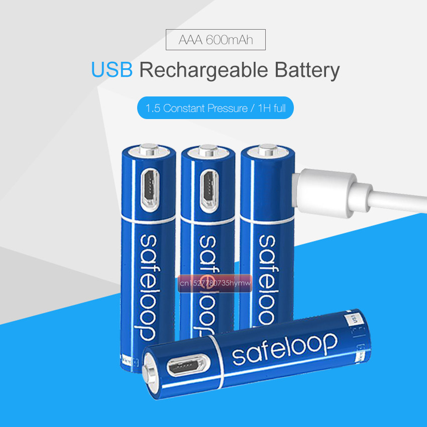 1.5V AAA Rechargeable Battery 600mAh USB Rechargeable Lithium Polymer Battery Quick Charging by Micro USB Cable image