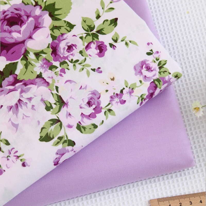 Purple Painted Flowers Fabric By The Yard