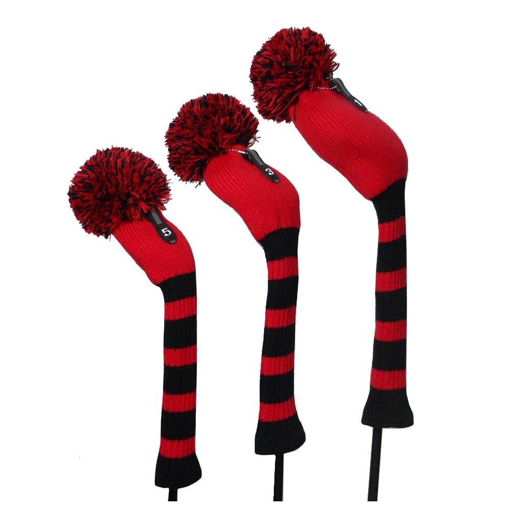 Color rojo Negro Grande Rayas Estilo Knit Golf Cimera, conjunto de 3 para el Con
