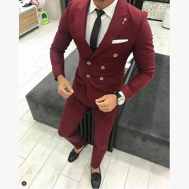 2017 New Burgundy Men Suit For Wedding Custom Slim Fit Double Breasted Bridegroom Men Suits Causal Prom Groom Terno 2Pieces