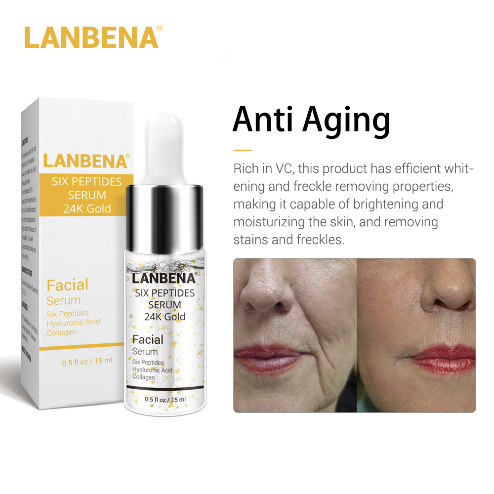 24K Gold Six Peptides Serum Face Mask Anti-Aging Wrinkle Lift Firming Whitening Moisturizing Acne Treatment Skin Care F0 15ML